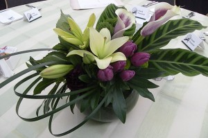 purple tulip lily centerpiece