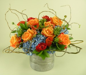 orange blue mix with curly willow