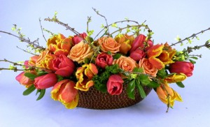 tulip, forsythia centerpiece
