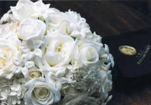 white rose, stephanotis bouquet